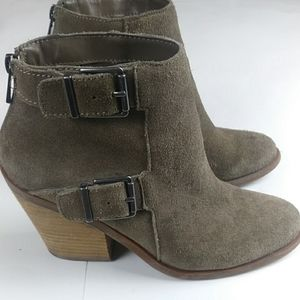Lucky Brown Green Suede Ankle Boots